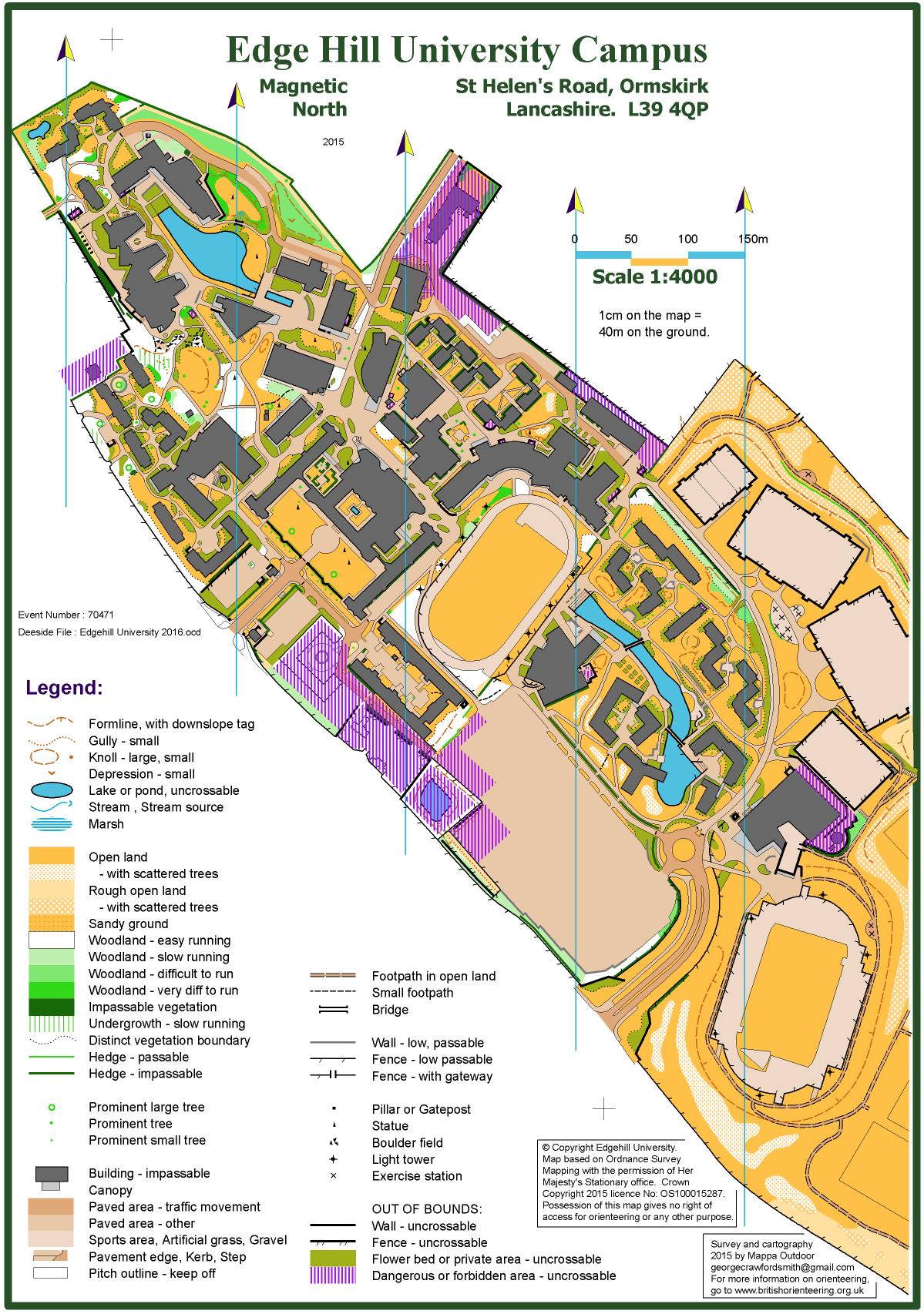 Edge Hill Map Edge Hill University 2016   June 21st 2016   Orienteering Map from